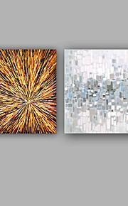 Maalattu Abstrakti Neliö,Moderni Välimeren 2 paneeli Kanvas Hang-Painted öljymaalaus For Kodinsisustus