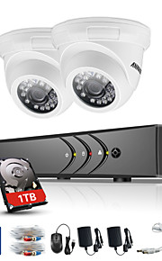 Annke® 4ch 2pcs tvi 720p video monitor ip netwerk cctv ahd dvr beveiligingssysteem
