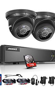 Annke® 4ch 2pcs tvi 720p hd 4 in 1 videomonitor p2p camera weerbestendig beveiligingssysteem