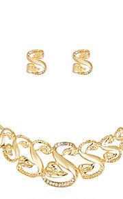 Set de Bijoux Collier Boucles d'oreilles Mode euroaméricains Strass Alliage Forme de Lettres 1 Collier 1 Paire de Boucles d'Oreille Pour