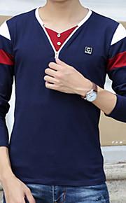 Heren Eenvoudig T-shirt,Casual/Dagelijks Print Ronde hals Lange mouw Katoen