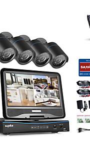 Sannce® 4ch 4pcs 720p lcd dvr vejrbestandigt sikkerhedssystem understøttet analog ahd tvi ip kamera med 1tb hdd