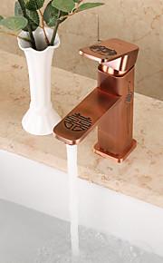 Moderne Art Deco/Retro CentersatKeramisk Ventil Enkelt Håndtak Et Hull for  Antikk Messing , Baderom Sink Tappekran