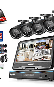 Sannce® 8ch 4pcs 720p lcd dvr weatherproof sikkerhedssystem understøttet analog ahd tvi ip kamera 1tb