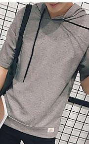 남성 솔리드 후디 짧은 소매 티셔츠,심플 일상 면 여름 중간