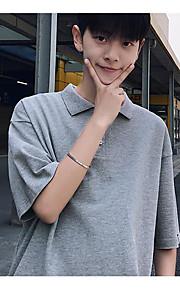 남성 솔리드 셔츠 카라 짧은 소매 Polo,심플 일상 면 여름