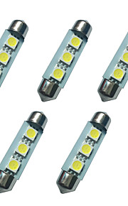 5pcs verduisterde led lichten 41mm 1w 3smd 5050 chip 80-100lm 6500-7000k dc12v leeslamp nummerplaat lichten
