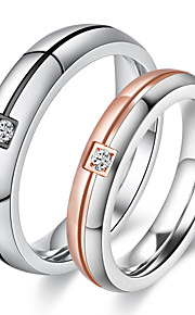 Couple's Rings  Simple Elegant Rose Gold AAA Cubic Zirconia Titanium Steel Ring Jewelry For Wedding Party Daily