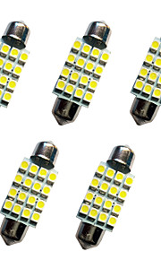 5pcs auto festoon koepel lamp 39mm 1.5w 16smd 3528 chip 80-100lm wit 6500-7000k dc12v leeslamp nummerplaat lichten