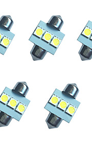 5pcs auto festoon koepel lamp 31mm 1w 3smd 5050 chip 80-100lm wit 6500-7000k dc12v leeslamp nummerplaat lichten