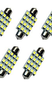 5pcs auto festoon koepel lamp 41mm 1.5w 16smd 3528 chip 80-100lm wit 6500-7000k dc12v leeslamp nummerplaat lichten