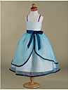 Ball Gown Tea-length Flower Girl Dress - Organza / Satin Sleeveless Spaghetti Straps with Bow(s) / Ruffles / Sash / Ribbon