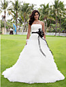 Lanting Bride Ball Gown Petite / Plus Sizes Wedding Dress-Chapel Train Strapless Satin / Tulle