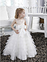 A-line / Princess Floor-length Flower Girl Dress - Satin / Tulle Sleeveless Jewel withAppliques / Beading / Bow(s) / Sash / Ribbon /