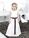A-line / Princess Floor-length Flower Girl Dress - Satin Sleeveless Bateau with Bow(s) / Lace / Sash / Ribbon