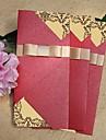 Vintage Sparkling Red Wedding Invitation With Gold Ribbon (Set of 60)