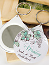 Personalized Mirror Key Ring - Green Flower (set of 12)