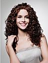 pitsi edessä pitkä korkealaatuinen synteettinen tummanruskeat kiharat hiukset peruukki