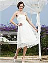 Linea-A Da principessa Vestito da sposa - Moderno Da ricevimento Vestitini bianchi Pizzo Lunghezza te Senza spalline Di pizzo conFascia /