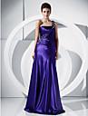 A-linie printesa o umăr podea lungime charmeuse rochie de bal cu beading de ts couture®