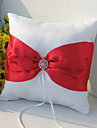Ring Pillow In White Satin With Sash And Rhinestone Accent