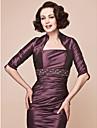 Women\'s Wrap Shrugs Half-Sleeve Taffeta Grape Wedding Party/Evening Wide collar 39cm Draped Open Front