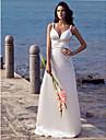 Coloană / Teacă Mătura / Trenă Satin Stretch Rochie de mireasă cu Mărgele de LAN TING BRIDE®