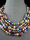 4-10mm regnbåge färg äkta sötvattenspärla halsband - 100 tum