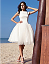 LAN TING BRIDE Princess Wedding Dress - Chic & Modern Reception Little White Dress Knee-length Bateau Satin Tulle with Draped