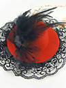 Hat With Black Lace, Gem, Netting And Feather