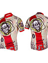 Kooplus-Mens Short Sleeve Clcying Jersey with 100% Polyester (Skulls)