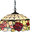 Tiffany Pendant Light with 2 Light in Rose Patterned Shade