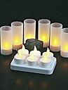 6 st varm gul ledde uppladdningsbara flamfri ljus värmeljus