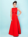 Floor-length Satin Junior Bridesmaid Dress - Ruby A-line / Princess Jewel
