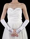 Elbow Length Fingerless Glove Satin Bridal Gloves Spring / Summer / Fall White Pleated