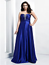 Formal Evening/Prom/Military Ball Dress - Royal Blue Plus Sizes A-line/Princess Sweetheart/Strapless Floor-length Stretch Satin