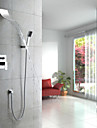 Contemporain Systeme de douche Cascade / Douchette inclue with  Valve en ceramique Mitigeur cinq trous for  Chrome , Robinet de douche