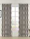 medelhavs två paneler pläd / check svart khaki vardagsrum polyester gardiner draperier