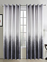 Two Panels Country Floral / Botanical Grey Living Room Polyester Panel Curtains Drapes