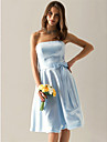 LAN TING BRIDE Knee-length Strapless Bridesmaid Dress - Elegant Sleeveless Satin