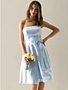 Lanting Bride® Polvipituinen Satiini Morsiusneidon asu - A-linja Olkaimeton Pluskoko / Petite kanssa Rusetti(rusetit) / Nauhat
