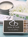 Wedding Décor Personalized Matchboxes - Double Hearts (Set of 12)