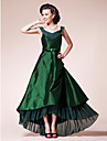 A-line Plus Sizes Mother of the Bride Dress - Dark Green Asymmetrical Short Sleeve Chiffon/Taffeta