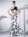 Formal Evening / Military Ball Dress - Print Plus Sizes / Petite Trumpet/Mermaid One Shoulder Floor-length Taffeta
