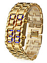 Men\'s Watch Blue LED Digital Lava Style Gold Steel Band