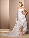 LAN TING BRIDE Linea-A Da principessa Vestito da sposa - Classico Scollatura posteriore Asimmetrico A cuore Organza conPerline Incrociato