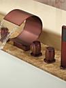 olje-gnuggade brons vattenfall utbredd badkar med handdusch (böjd form design)