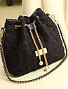 Kvinder Diamond Tjek Chain Kvaster Tweed crossbody Bag