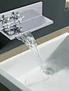 finisaj cromat două elipse mâner cascadă baie chiuveta robinet contemporane (dublu raft)