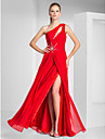 TS Couture® Prom / Formal Evening / Military Ball Dress - Sexy Plus Size / Petite Sheath / Column One Shoulder Floor-length Chiffon with Beading